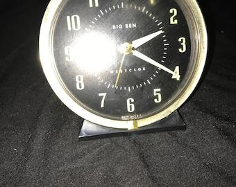 Black style 8 Big Ben alarm clock with nickel trim. Luminous dial.