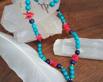 Turquoise, Coral & Lapis Lazuli Necklace