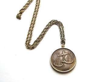 chunky vintage Libra necklace, coin style pendant on long chain