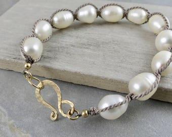 Silk Wrapped White Fresh Water Pearl Bracelet