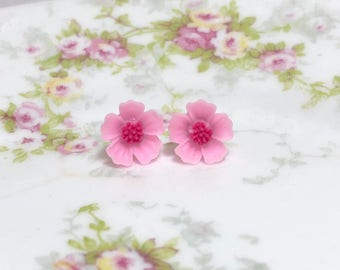 Pink Petals and Dark Pink Center Cherry Blossom Sakura Flower Stud Earrings with Surgical Steel Posts (SE13)