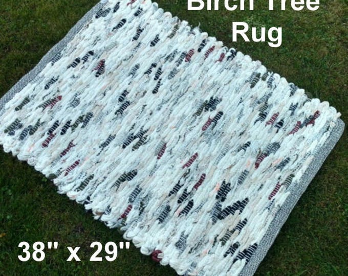 Handwoven Rug--- Birch Tree -- 38 x 29