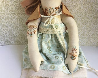 Embroidered mori forest girl cloth doll Piper OOAK