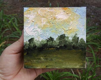 Trees, Blue Sky, Clouds, Small Format Art, Original Painting, Landscape Painting, 4x4, Home decor, Office art, Wall art, Gift, Winjimir