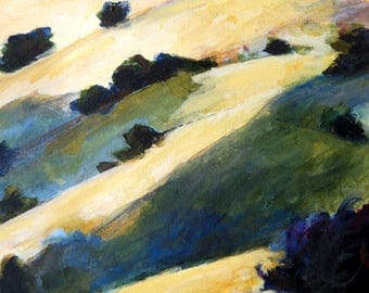 Oaks and Hills California Landscape Painting Small Original Oil on archival paper 9x12 inches