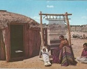 Vintage Postcard Navajo Rug Weaving Family Hogan Hut Dwelling Arizona United States 1950s Photochrome Card Postally Unused