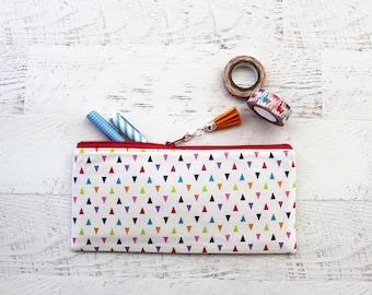 Triangles pencil case - colorful pencil pouch - rainbow pencil bag - planner accessories  - teachers gift idea - pencil case - BUJO pen bag