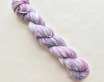 JAZZY hand dyed yarn mini skein sock fingering yarn merino wool speckle yarn sock mini pink purple grey white yarn