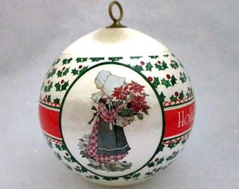 1982 Holly Hobbie Satin Ball Christmas Ornament in Original Box - Vintage Holly Hobbie Collectible