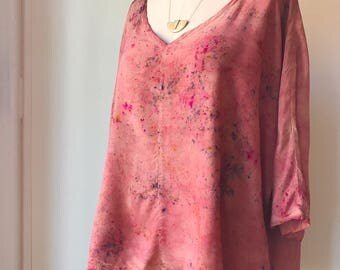 Hand Dyed V-Neck Blouse in Sun Flare, Bat Wing, Anna Joyce, Portland, Or