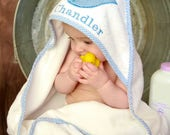 Hooded Towel Personalized with Blue Gingham Whale for Baby Boys and Toddler Boys