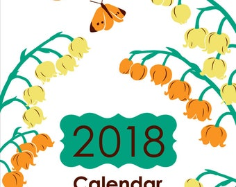 2018 Desk Calendar - Desk Calendar 2018 - Monthly Desk 2018 Calendar - CD Case Calendar 2018 - Birds and Flowers - Art Calendar