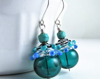Teal Hollow Glass and Silver Earrings