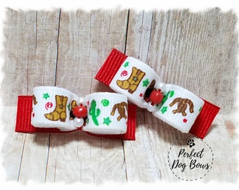 Dog Bows, Western Dog Bows, Cowboy Dog Bows, Pet Hair Bow, Dog Grooming Bow, Bows for Dogs, Cowgirl Dog Bows, Horseshoe Bows