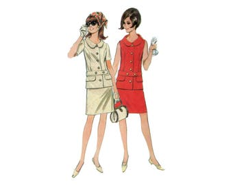 60s McCall's Chanel Style Two Piece Dress pattern  34-26-36 Tailored Dress pattern Tailored Jacket pattern Suit pattern McCalls 8752