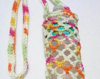 Bright Multi Colors Crochet Water Bottle Carrier