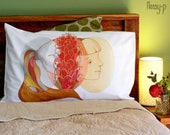 Grevillea Girl pillow case. Australian native flower cotton sham, white printed pillowslip. Australian gift with original art by flossy-p