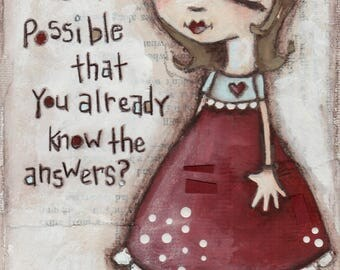 Print of my Original Motivational Inspirational Mixed Media Painting - The Answers