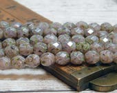 8mm - Fire Polished Beads - Round Beads - Czech Picasso Beads - Purple Beads - Czech Glass Beads - Rustic Beads - 16pcs (B114)