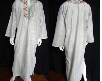 Cotton Desert Caftan with Metallic Striped Seersucker, Southwest Print, Tunic, Galabia, Kaftan, Festival clothing