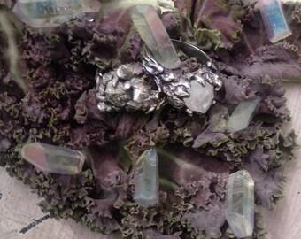 forest woodland silver ring // tjärn // raw quartz
