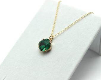 Emerald Green Crystal Necklace Classic Sparkling Seafoam Solitaire Swarovski 12mm or 10mm Sterling 14K Gold Fill Delicate Simple Teardrop