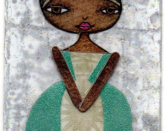 ACEO/ATC - Blonde Girl with Mint Green Ballgown and Curly Poofs