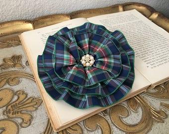 Navy Tartan Brooch.Navy Tartan Hair Clip.Tartan Plaid.Hair Accessory.Navy Tartan Pin.Tartan Flower.headpiece.Large flower.Navy, Green, Red