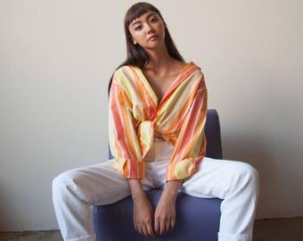 oversized neon cotton striped blouse / button up blouse / button down shirt / s / m / l / 2786t / B18