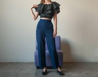 ST JOHN knit wool blend pants / navy blue easy fit lounge pants / s / US 4 / 2760t / B9