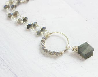 Labradorite Gemstone Necklace, Sterling Silver Necklace, Beaded Stone Necklace, Raw Gemstone Necklace, Silver Labradorite Necklace