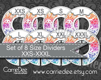 Clothing Size Dividers, Consultant Tools, LuLaRoe Size Divider Set, Rainbow Lace Design, LLR Size Cards