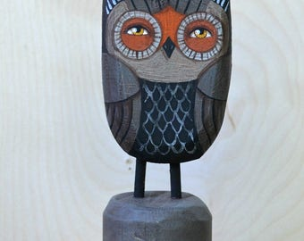 Owl Halloween Folk Art Doll Hand-Painted Wooden Anthropomorphic Sculpture Original OOAK