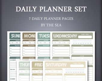Printable Daily Planner - Meal Planner - Day Planner - Daily Schedule - To Do List - Weekly Planner - Instant Download   By the Sea