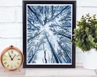 Blue Landscape Print - Nursery Forest Print - Nature Lovers Gifts - Wilderness Art - Blue Forest - Watercolor Forest - Adventure Awaits