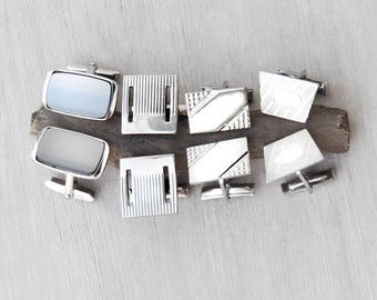 4 Pair Vintage Cufflinks - silver tone modern rectangle square trapezoid cuff link lot - flip toggles