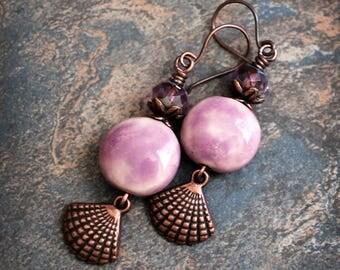 Seashell Candies. Boho  earrings.  Artisan made earrings.  Handmade ceramic beads  solid copper.
