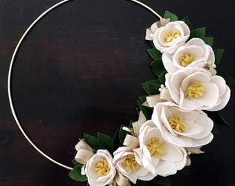 Brass Ring Wreath with Felt Flower Magnoilas
