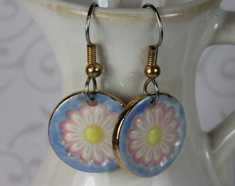 Pink Daisy Flower Dangle Earrings Handmade Porcelain Ceramic Jewelry
