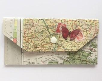 Vintage Map & Vinyl - Large Snap Wallet
