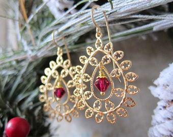 Merry and Bright - Golden Filigree Medallion Earrings with Magenta Crystal Centers