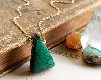 P e a c e...Malachite chrysocolla necklace, Rutilated quartz, boho, harmony, throat chakra, water element, Gemini, gold FREE SHIPPING
