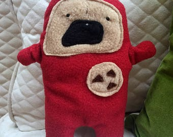 """Bruce - The """"Cookie Time"""" Pug-Jama Party Bummlie ~ Stuffing Free Dog Toy - Ready To Ship Today ~ Red Pajamas"""