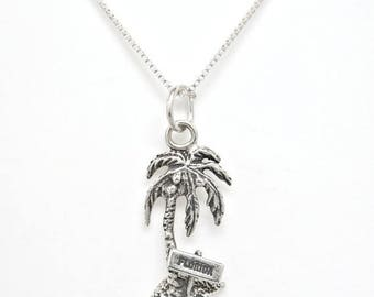 SALE Palm Tree with Florida Sign Sterling Silver Tropical Charm Pendant Customize Necklace no. 1925