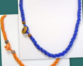 Necklace Braided Seed Beads Beaded Multi Strand 18 Inches Florida Colors
