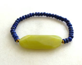 Little Luxe Simple Stacking Stretch Bracelet in Chartreuse Jade and Royal Lapis