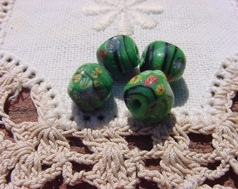 Jade Green Nugget Japanese Millefiori Vintage Glass Beads