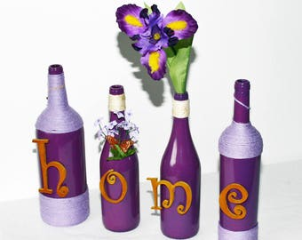 Purple Wine Bottles Home Design Iris Floral Upcycled Bottles Handcrafted