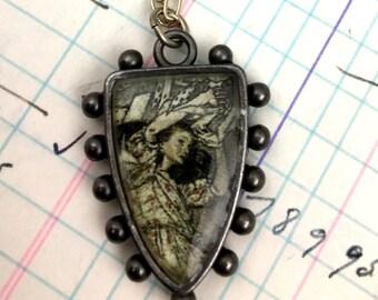 Alice in Wonderland Dark Hobnail Shield Necklace, Mixed Media Illustration Jewelry