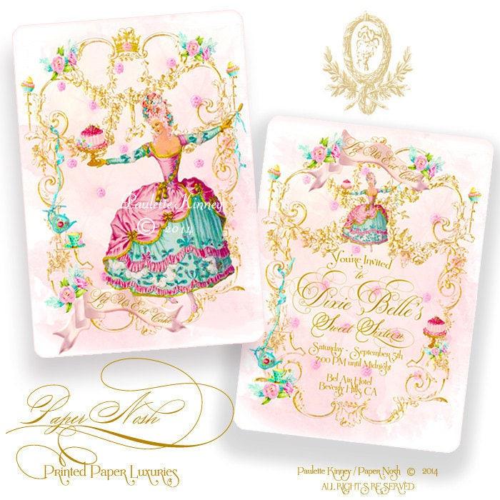 Marie Antoinette Invitations Let Us Eat Cake Party, Birthday, Tea ...